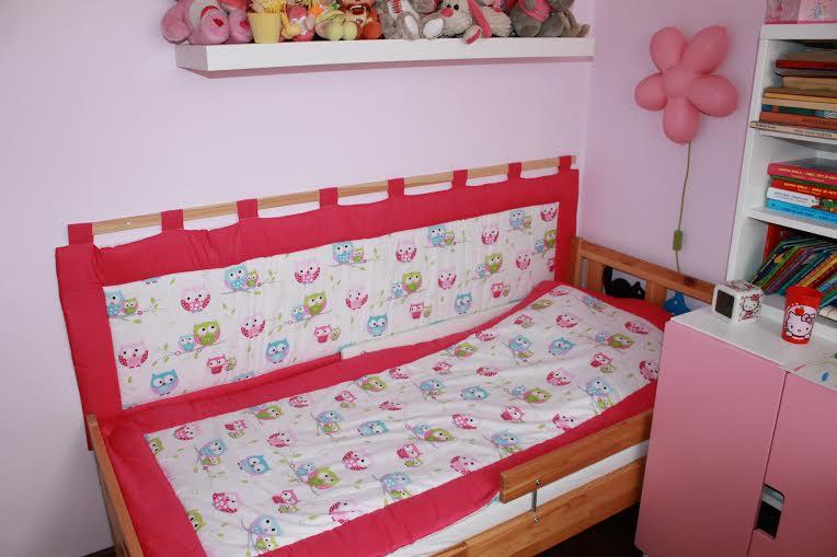 Falvédő és ágytakaró csajos szobába.
